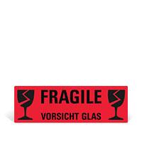 Bild Hinweis-Etiketten 'Vorischt Glas', rot, 10 St.