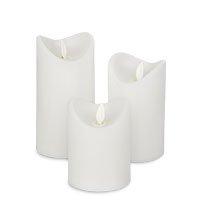 Bild 3er Set LED Echtwachs-Kerzen, weiß