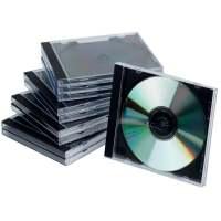 Bild CD-Boxen Standard - Hardbox für 1 CD/DVD, transparent/schwarz, Packung mit 10 Stück