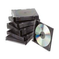 Bild CD-Boxen Standard - Slim Line für 1 CD/DVD, transparent/schwarz, Packung mit 25 Stück