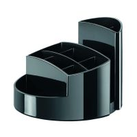 Bild Schreibtischköcher RONDO - 9 Fächer, Gummifüße, Briefschlitz, hochglänzend, schwarz
