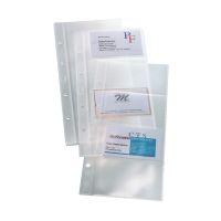 Bild Hüllen für Visitenkarten-Ringbücher, einreihig, 10 Sichthüllen, für bis zu 80 Karten (max. 90x58 mm)