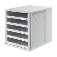 Bild Schublabdenbox SCHRANK-SET - A4/C4, 5 offene Schubladen, lichtgrau