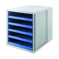 Bild Schubladenbox SCHRANK-SET KARMA - A4/C4, 5 offene Schubladen, grau-öko-blau
