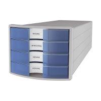 Bild Schubladenbox IMPULS - A4/C4, 4 geschlossene Schubladen, lichtgrau/transluzent-blau