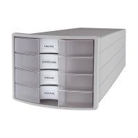 Bild Schubladenbox IMPULS - A4/C4, 4 geschlossene Schubladen, lichtgrau/transluzent-klar