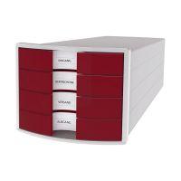 Bild Schubladenbox IMPULS - A4/C4, 4 geschlossene Schubladen, lichtgrau/rot