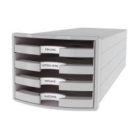 Bild Schubladenbox IMPULS - A4/C4, 4 offene Schubladen, lichtgrau