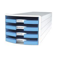 Bild Schubladenbox IMPULS - A4/C4, 4 offene Schubladen, weiß/hellblau