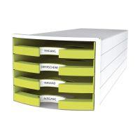 Bild Schubladenbox IMPULS - A4/C4, 4 offene Schubladen, weiß/lemon