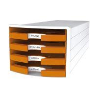 Bild Schubladenbox IMPULS - A4/C4, 4 offene Schubladen, weiß/orange