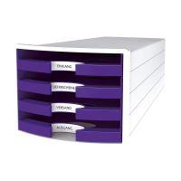 Bild Schubladenbox IMPULS - A4/C4, 4 offene Schubladen, weiß/lila