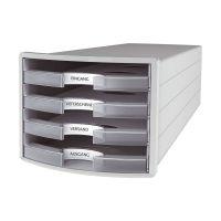 Bild Schubladenbox IMPULS - A4/C4, 4 offene Schubladen, lichtgrau/transluzent-klar