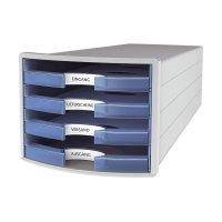 Bild Schubladenbox IMPULS - A4/C4, 4 offene Schubladen, lichtgrau/transluzent-blau