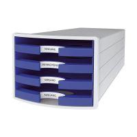 Bild Schubladenbox IMPULS - A4/C4, 4 offene Schubladen, lichtgrau/blau