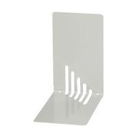 Bild Buchstützen aus Metall, schmal, 85 x 140 x 140 mm, grau, Pack mit 2 Stück