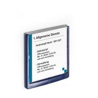 Bild Türschild CLICK SIGN, Rahmen dunkelblau, 149 x 148,5 mm, transparent