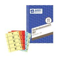 Bild 867 Garderobennummern, DIN A6, farbig sortiert, 100 Blatt / Block, gelb, orange, rot, blau, grün