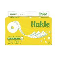 Bild Toilettenpapier PLUS mit Kamille - 3-lagig, geprägt, Porenprägung, weiß mit Dekor, Rolle mit 150 blatt, 8 Rollen