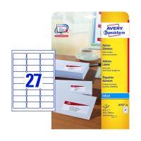 Bild J4792-25 Adress-Etiketten - 63,5 x 29,6 mm, weiß, 675 Etiketten/25 Blatt, permanent, für C6 Kuverts
