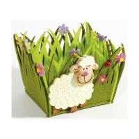 Bild Osterkorb - mit Schaf, Filz grün