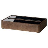 Bild Visitenkarten-Aufsteller - Walnuss Holz/Acryl, 30 Karten max. 90 x 60 mm