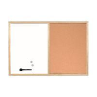 Bild Kombitafel - 60 x 45 cm, Schreib- und Korktafel, braun/weiß, Holzrahmen