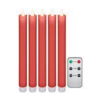 Bild 5er-Set rote LED-Echtwachs-Stabkerzen, inkl. Fernbedienung