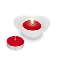Bild Glas Herz-Kerzenhalter inkl.  2 Duft-Kerzen